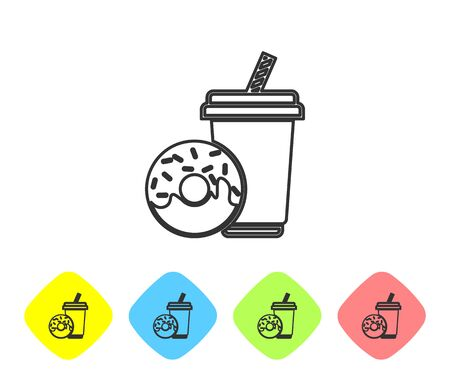 Grey Soda drink with drinking straw and donut line icon isolated on white background. Fast food symbol. Set icon in color rhombus buttons. Vector Illustration Illustration