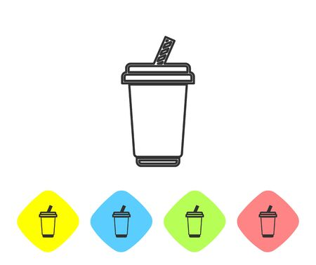Grey Glass with water line icon isolated on white background. Soda drink glass with drinking straw. Fresh cold beverage symbol. Set icon in color rhombus buttons. Vector Illustration