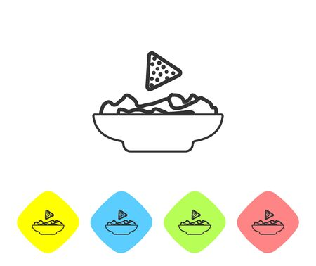 Grey Nachos in plate line icon isolated on white background. Tortilla chips or nachos tortillas. Traditional mexican fast food. Set icon in color rhombus buttons. Vector Illustration