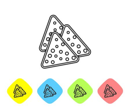 Grey Nachos line icon isolated on white background. Tortilla chips or nachos tortillas. Traditional mexican fast food. Set icon in color rhombus buttons. Vector Illustration