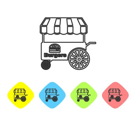 Grey Fast street food cart with awning line icon isolated on white background. Burger or hamburger icon. Urban kiosk. Set icon in color rhombus buttons. Vector Illustration