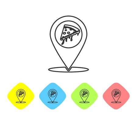 Grey Map pointer with fast food slice pizza line icon isolated on white background. Pizzeria location icon. Pizza cafe and restaurant marker. Set icon in color rhombus buttons. Vector Illustration