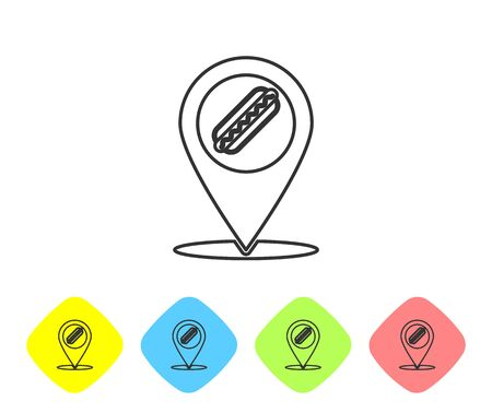 Grey Map pointer with fast food hotdog line icon isolated on white background. Sausage icon. Set icon in color rhombus buttons. Vector Illustration