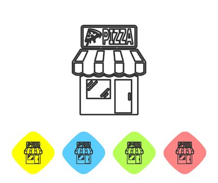 Grey Pizzeria building facade line icon isolated on white background. Fast food pizzeria kiosk. Set icon in color rhombus buttons. Vector Illustration
