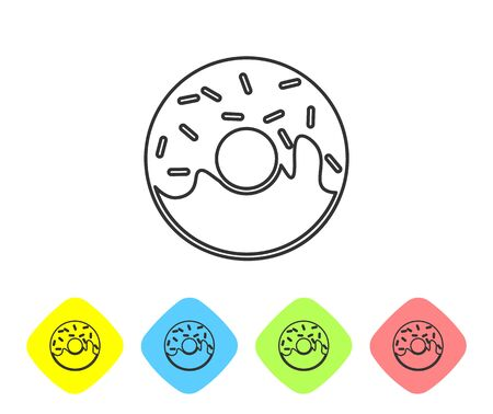 Grey Donut with sweet glaze line icon isolated on white background. Set icon in color rhombus buttons. Vector Illustration