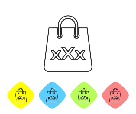 Grey line Shopping bag with a triple X icon isolated on white background. Set icon in color rhombus buttons. Vector Illustration