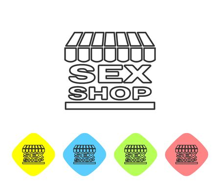 Grey line Sex shop building with striped awning icon isolated on white background. Sex shop, online sex store, adult erotic products concept. Set icon in color rhombus buttons. Vector Illustration