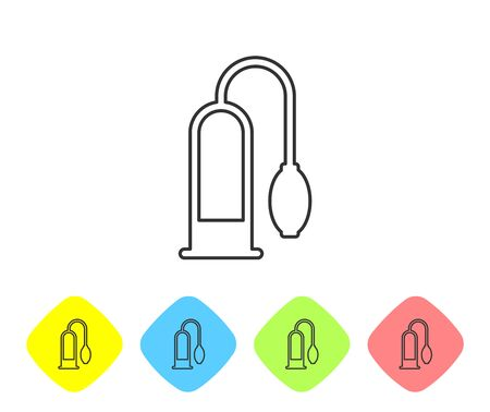 Grey line Penis pump icon isolated on white background. Penis enlarger. Sex toy for men. Vacuum pump with a blower to increase the penis. Set icon in color rhombus buttons. Vector Illustration Vettoriali