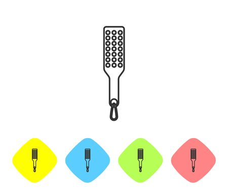 Grey line Spanking paddle icon isolated on white background. Fetish accessory. Sex toy for adult. Set icon in color rhombus buttons. Vector Illustration