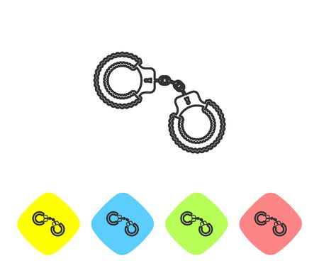 Grey line Sexy fluffy handcuffs icon isolated on white background. Handcuffs with fur. Fetish accessory. Sex shop stuff for sadist and masochist. Set icon in color rhombus buttons. Vector Illustration