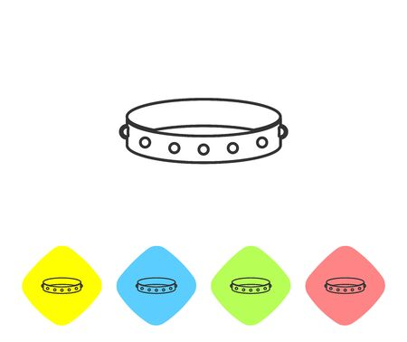 Grey line Leather fetish collar with metal spikes on surface icon isolated on white background. Fetish accessory. Sex toy for men and woman. Set icon in color rhombus buttons. Vector Illustration