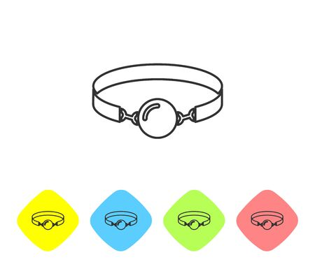 Grey line Silicone ball gag with a leather belt icon isolated on white background. Fetish accessory. Sex toy for men and woman. Set icon in color rhombus buttons. Vector Illustration Illustration
