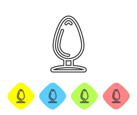 Grey line Anal plug icon isolated on white background. Butt plug sign. Fetish accessory. Sex toy for men and woman. Set icon in color rhombus buttons. Vector Illustration  イラスト・ベクター素材