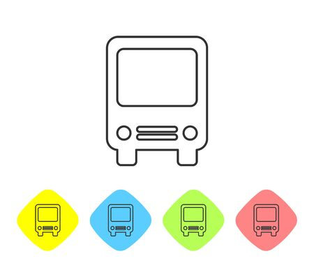 Grey line Bus icon isolated on white background. Transportation concept. Bus tour transport sign. Tourism or public vehicle symbol. Set icon in color rhombus buttons. Vector Illustration