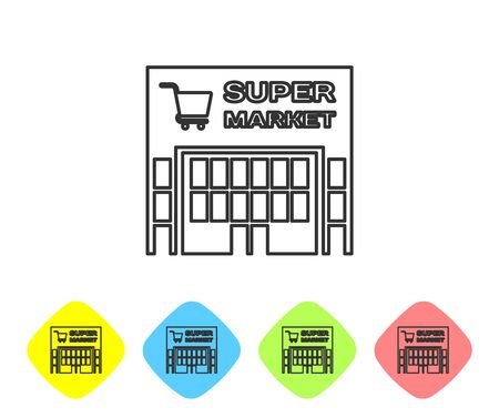 Grey line Supermarket building with shopping cart icon isolated on white background. Shop or store. Mall building. Set icon in color rhombus buttons. Vector Illustration
