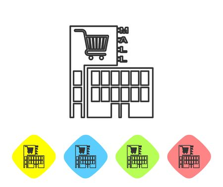 Grey line Mall or supermarket building with shopping cart icon isolated on white background. Shop or store. Set icon in color rhombus buttons. Vector Illustration