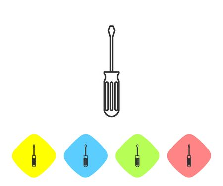 Grey line Screwdriver icon isolated on white background. Service tool symbol. Set icon in color rhombus buttons. Vector Illustration
