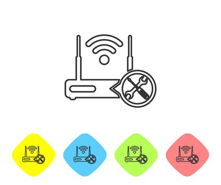 Grey line Router wi-fi with screwdriver and wrench icon isolated on white background. Adjusting, service, setting, maintenance, repair, fixing. Set icon in color rhombus buttons. Vector Illustration Illustration