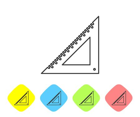Grey line Triangular ruler icon isolated on white background. Straightedge symbol. Geometric symbol. Set icon in color rhombus buttons. Vector Illustration Stock Vector - 124595537