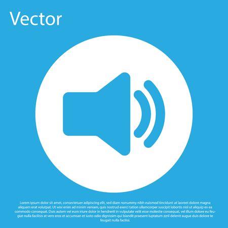 Blue Speaker volume icon - audio voice sound symbol, media music icon isolated on blue background. White circle button. Flat design. Vector Illustration