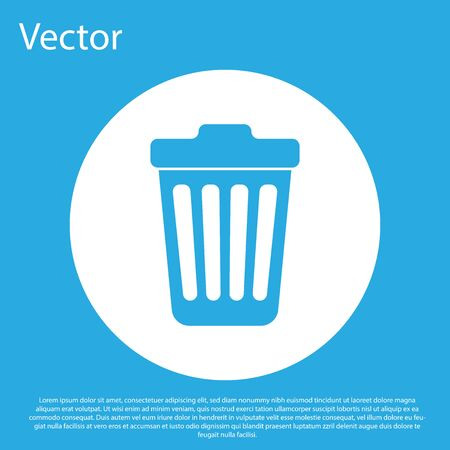 Blue Trash can icon isolated on blue background. Garbage bin sign. White circle button. Flat design. Vector Illustration
