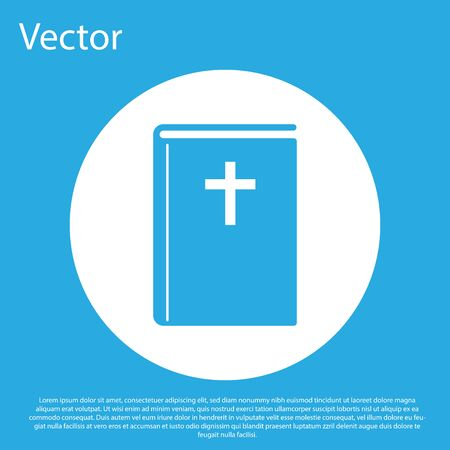 Blue Holy bible book icon isolated on blue background. White circle button. Flat design. Vector Illustration