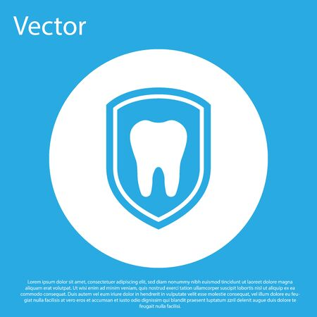 Blue Dental protection icon isolated on blue background. Tooth on shield logo icon. White circle button. Flat design. Vector Illustration Stock Vector - 124595431