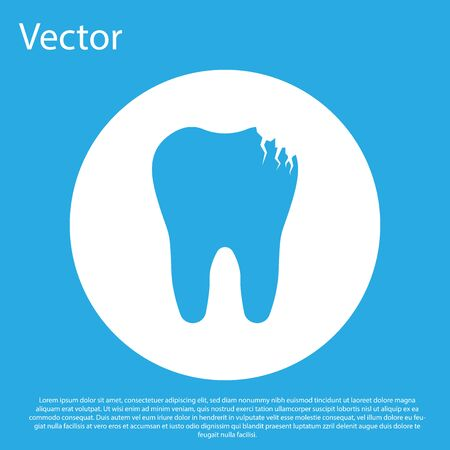 Blue Broken tooth icon isolated on blue background. Dental problem icon. Dental care symbol. White circle button. Flat design. Vector Illustration