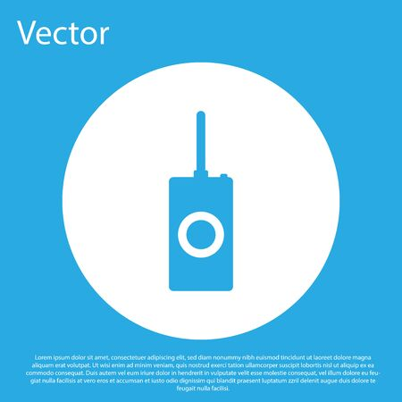 Blue Remote control icon isolated on blue background. White circle button. Flat design. Vector Illustration