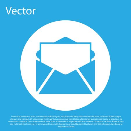Blue Mail and e-mail icon isolated on blue background. Envelope symbol e-mail. Email message sign. White circle button. Flat design. Vector Illustration