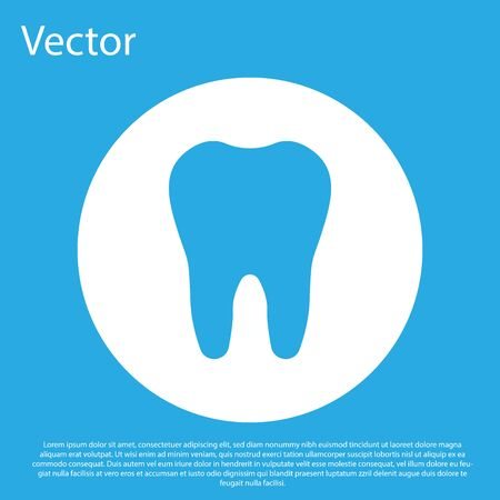 Blue Tooth icon isolated on blue background. Tooth symbol for dentistry clinic or dentist medical center and toothpaste package. White circle button. Flat design. Vector Illustration