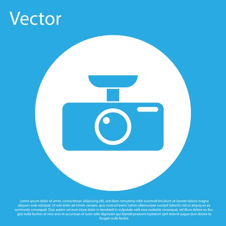 Blue Car DVR icon isolated on blue background. Car digital video recorder icon. White circle button. Flat design. Vector Illustration