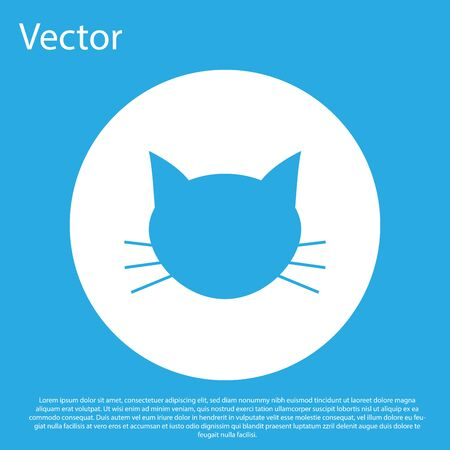 Blue Cat icon isolated on blue background. White circle button. Vector Illustration Illustration