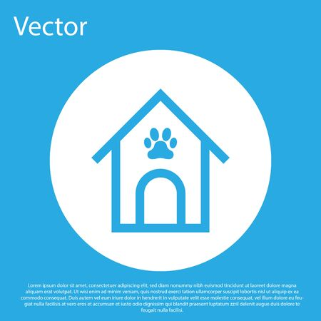 Blue Dog house and paw print pet icon isolated on blue background. Dog kennel. White circle button. Vector Illustration