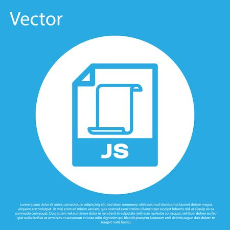 Blue JS file document icon. Download js button icon isolated on blue background. JS file symbol. White circle button. Vector Illustration
