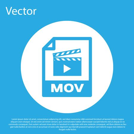 Blue MOV file document icon. Download mov button icon isolated on blue background. MOV file symbol. Audio and video collection. White circle button. Vector Illustration Illustration