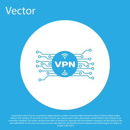 Blue VPN in circle with microchip circuit icon isolated on blue background. White circle button. Vector Illustration