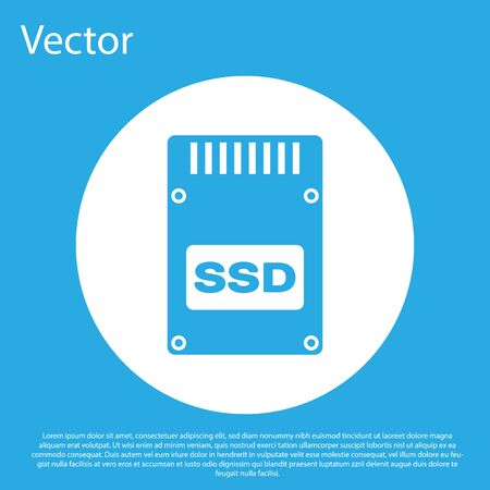 Blue SSD card icon isolated on blue background. Solid state drive sign. Storage disk symbol. White circle button. Flat design. Vector Illustration