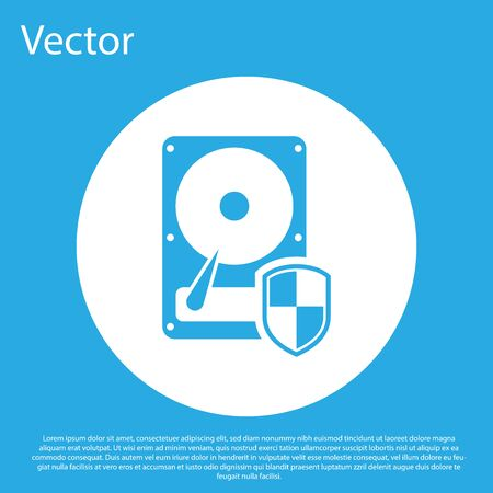 Blue Hard disk drive HDD protection icon isolated on blue background. White circle button. Flat design. Vector Illustration Illustration