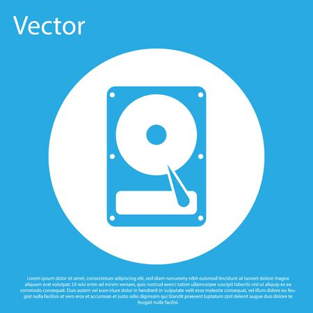 Blue Hard disk drive HDD icon isolated on blue background. White circle button. Flat design. Vector Illustration