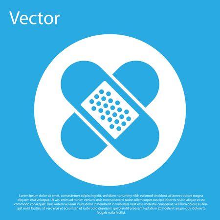 Crossed bandage plaster icon isolated on blue background. Medical plaster, adhesive bandage, flexible fabric bandage. White circle button. Flat design. Vector Illustration Imagens - 124842275