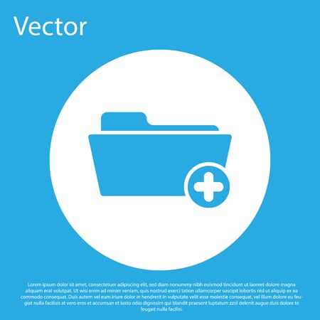 Blue Medical health record folder for healthcare icon isolated on blue background. Patient file icon. Medical history symbol. White circle button. Flat design. Vector Illustration