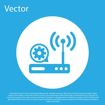 Blue Router and wi-fi signal and gear icon isolated on blue background. Adjusting app, service concept, setting options, maintenance, repair, fixing. White circle button. Vector Illustration Illustration