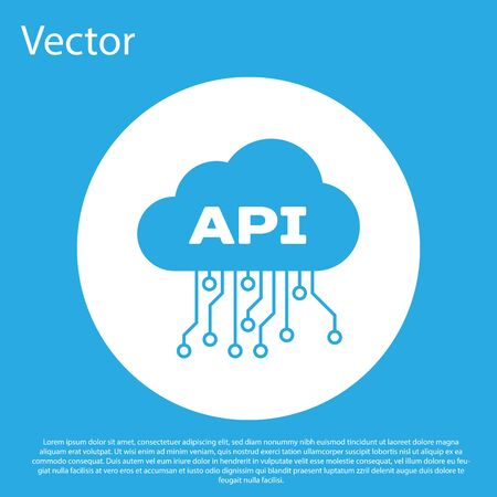 Blue Cloud api interface icon isolated on blue background. Application programming interface API technology. Software integration. White circle button. Vector Illustration Ilustração