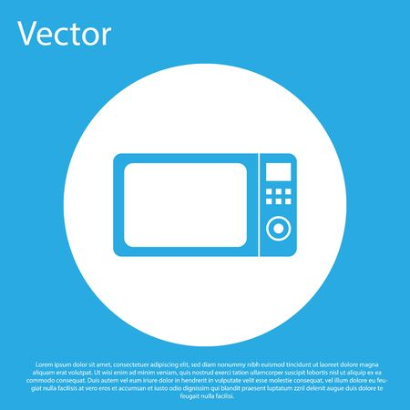 Blue Microwave oven icon isolated on blue background. Home appliances icon.White circle button. Vector Illustration Illustration