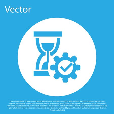 Blue Hourglass and gear icon isolated on blue background. Time Management symbol. Clock and gear icon. Productivity symbol. White circle button. Vector Illustration