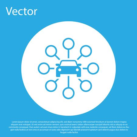 Blue Car sharing icon isolated on blue background. Carsharing sign. Transport renting service concept. White circle button. Flat design. Vector Illustration Standard-Bild - 124844500