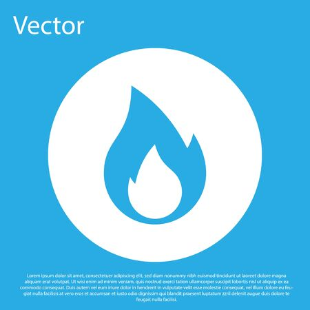 Blue Fire flame icon isolated on blue background. Heat symbol. White circle button. Vector Illustration