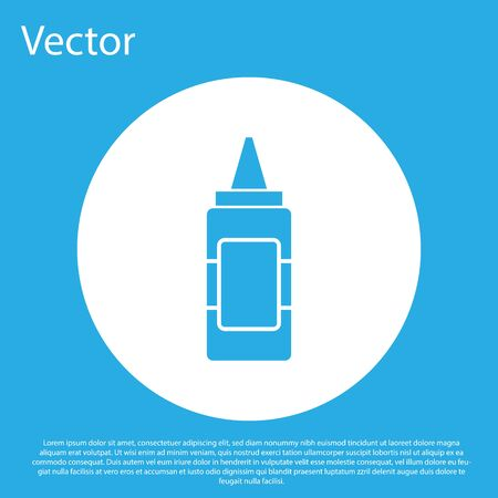 Blue Mustard bottle icon isolated on blue background. White circle button. Vector Illustration
