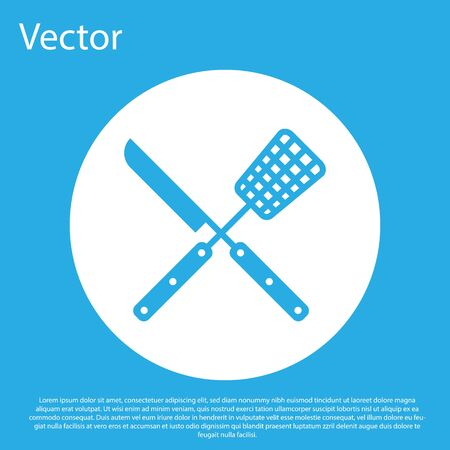 Crossed fork and knife icon isolated on blue background. BBQ fork and knife sign. Barbecue and grill tools. White circle button. Vector Illustration